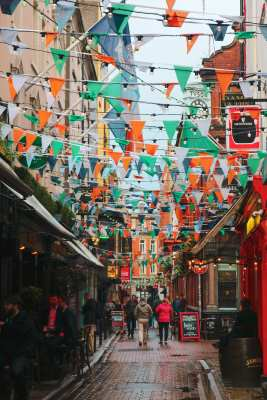 Temple Bar, Dublin on St. Patrick's Day.
