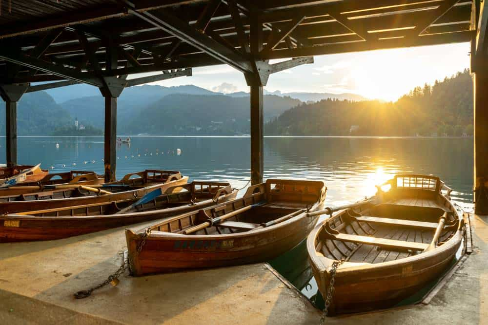 Boats on Lake Bled Slovenia