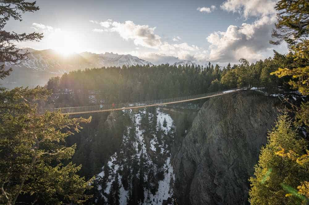 Angle view of the highest suspension bridge in Canada, Golden Skybridge